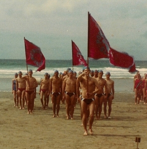 March Past team in the glory days of beach marching in the howling winds!