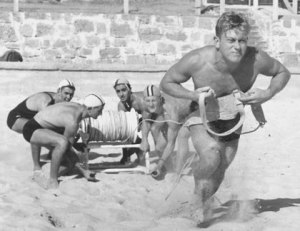 Reel Start (Cottesloe rescue and resuscitation team with Don Morrison as beltman,1949–1950 copyright unknown)